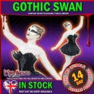 HALLOWEEN FANCY DRESS # LADIES GOTHIC BLACK SWAN COSTUME + EYE MASK MEDIUM 12-14